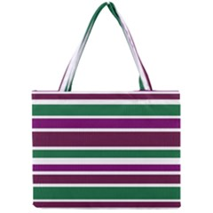 Purple Green Stripes Mini Tote Bag by BrightVibesDesign