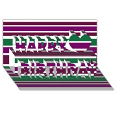 Purple Green Stripes Happy Birthday 3d Greeting Card (8x4)  by BrightVibesDesign