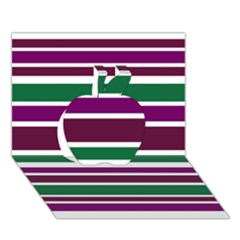 Purple Green Stripes Apple 3d Greeting Card (7x5)  by BrightVibesDesign