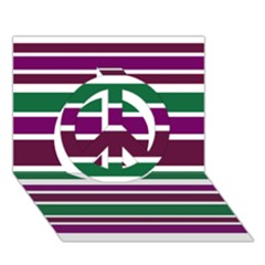 Purple Green Stripes Peace Sign 3d Greeting Card (7x5)  by BrightVibesDesign