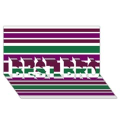 Purple Green Stripes Best Bro 3d Greeting Card (8x4)  by BrightVibesDesign