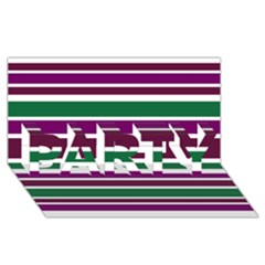 Purple Green Stripes Party 3d Greeting Card (8x4)  by BrightVibesDesign