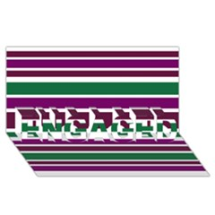 Purple Green Stripes Engaged 3d Greeting Card (8x4)  by BrightVibesDesign