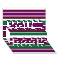 Purple Green Stripes You Rock 3d Greeting Card (7x5)  by BrightVibesDesign