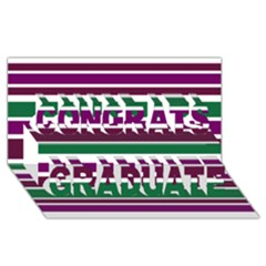 Purple Green Stripes Congrats Graduate 3d Greeting Card (8x4)  by BrightVibesDesign