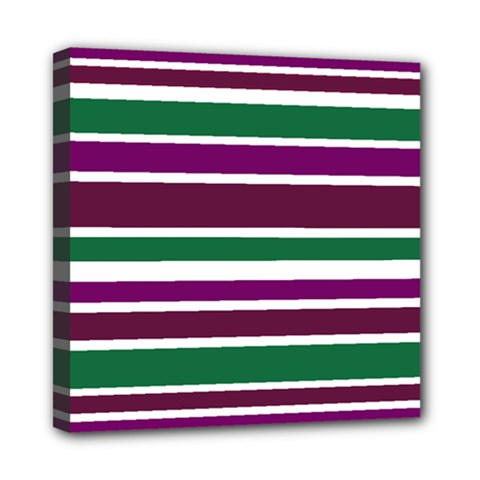 Purple Green Stripes Mini Canvas 8  x 8  by BrightVibesDesign