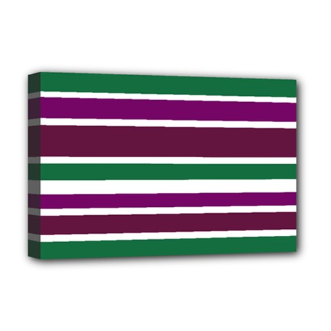 Purple Green Stripes Deluxe Canvas 18  X 12   by BrightVibesDesign