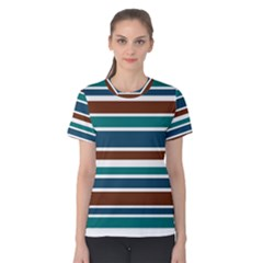 Teal Brown Stripes Women s Cotton Tee by BrightVibesDesign