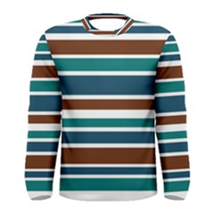 Teal Brown Stripes Men s Long Sleeve Tee by BrightVibesDesign
