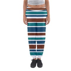 Teal Brown Stripes Women s Jogger Sweatpants by BrightVibesDesign