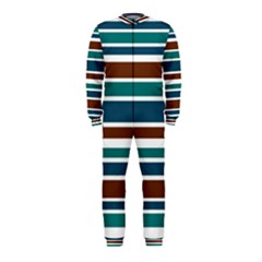 Teal Brown Stripes OnePiece Jumpsuit (Kids) by BrightVibesDesign