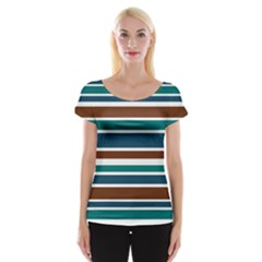 Teal Brown Stripes Women s Cap Sleeve Top by BrightVibesDesign