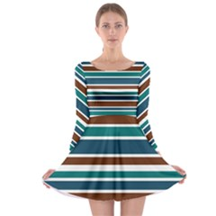 Teal Brown Stripes Long Sleeve Skater Dress by BrightVibesDesign