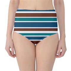 Teal Brown Stripes High-Waist Bikini Bottoms by BrightVibesDesign
