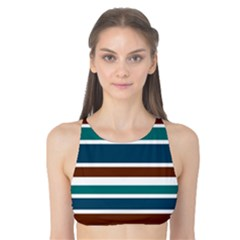 Teal Brown Stripes Tank Bikini Top by BrightVibesDesign