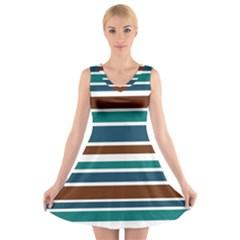 Teal Brown Stripes V-Neck Sleeveless Skater Dress by BrightVibesDesign