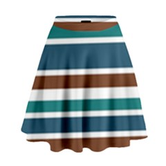Teal Brown Stripes High Waist Skirt by BrightVibesDesign