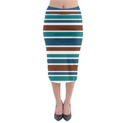Teal Brown Stripes Midi Pencil Skirt by BrightVibesDesign