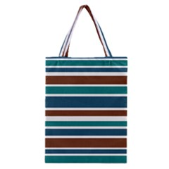 Teal Brown Stripes Classic Tote Bag by BrightVibesDesign