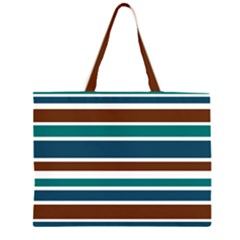Teal Brown Stripes Zipper Large Tote Bag by BrightVibesDesign