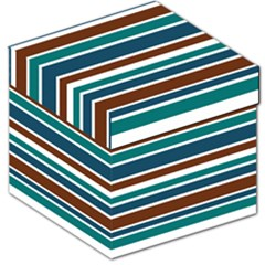 Teal Brown Stripes Storage Stool 12   by BrightVibesDesign