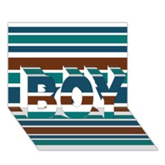 Teal Brown Stripes Boy 3d Greeting Card (7x5) by BrightVibesDesign