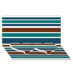 Teal Brown Stripes Twin Heart Bottom 3d Greeting Card (8x4)  by BrightVibesDesign