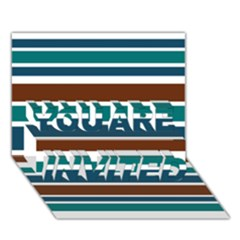 Teal Brown Stripes YOU ARE INVITED 3D Greeting Card (7x5)  by BrightVibesDesign