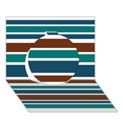 Teal Brown Stripes Circle 3D Greeting Card (7x5)  by BrightVibesDesign