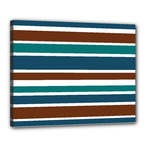 Teal Brown Stripes Canvas 20  x 16  by BrightVibesDesign