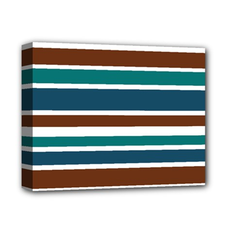 Teal Brown Stripes Deluxe Canvas 14  X 11  by BrightVibesDesign