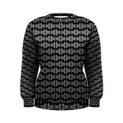 Black White Tiki Pattern Women s Sweatshirt by BrightVibesDesign
