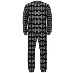 Black White Tiki Pattern Onepiece Jumpsuit (men)  by BrightVibesDesign