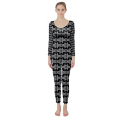 Black White Tiki Pattern Long Sleeve Catsuit by BrightVibesDesign