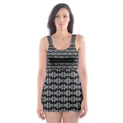 Black White Tiki Pattern Skater Dress Swimsuit by BrightVibesDesign