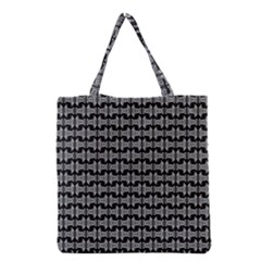 Black White Tiki Pattern Grocery Tote Bag by BrightVibesDesign