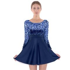 Blue Glitter Rain Long Sleeve Skater Dress by KirstenStar