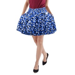Blue Glitter Rain A-Line Pocket Skirt by KirstenStar
