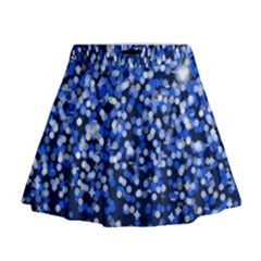 Blue Glitter Rain Mini Flare Skirt by KirstenStar