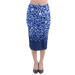 Blue Glitter Rain Midi Pencil Skirt
