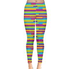 Colorful Stripes Background Leggings  by TastefulDesigns