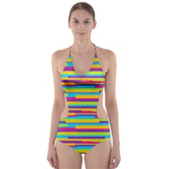 Colorful Stripes Background Cut-Out One Piece Swimsuit by TastefulDesigns