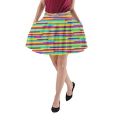 Colorful Stripes Background A Line Pocket Skirt by TastefulDesigns