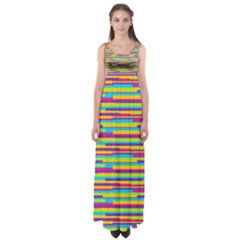 Colorful Stripes Background Empire Waist Maxi Dress