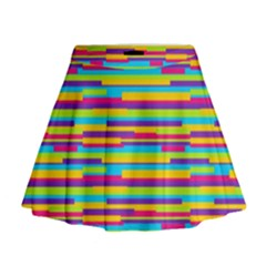 Colorful Stripes Background Mini Flare Skirt by TastefulDesigns