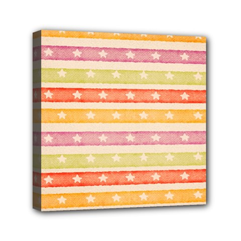 Watercolor Stripes Background With Stars Mini Canvas 6  X 6  by TastefulDesigns