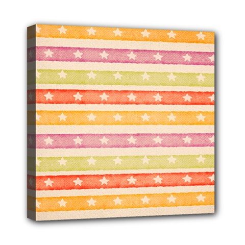 Watercolor Stripes Background With Stars Mini Canvas 8  X 8  by TastefulDesigns