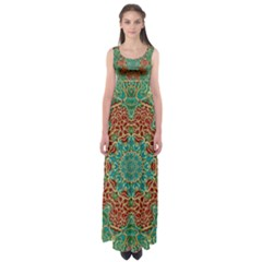The Wooden Heart Mandala,giving Calm Empire Waist Maxi Dress by pepitasart