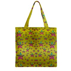 Flower Power Stars Zipper Grocery Tote Bag by pepitasart