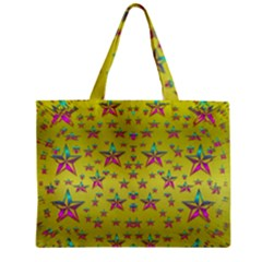 Flower Power Stars Zipper Mini Tote Bag by pepitasart